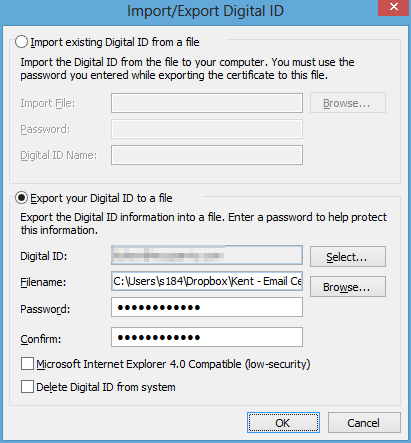 Exporting Digital Certificate to a File